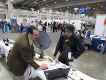 Stephen Tzikas presenting IBT radio telescope